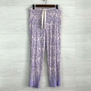 Soma Purple Lilac Filigree Soft Knit Pajama Pants